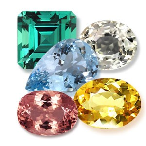 Beryl Gemstones Group - Emerald, Aquamarine, Goshenite, Morgenite and Heliodor