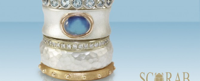 Jewellery Trends - stacking rings with multi-colored metals and multi-textured finishes by Scarab Jewellery Studio