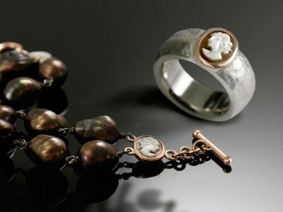 Cameo Silver Ring and Brown Baroque Pearl bracelet by Scarab Jewellery Studio