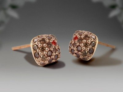 Diamond earrings by Scarab Jewellery Studio