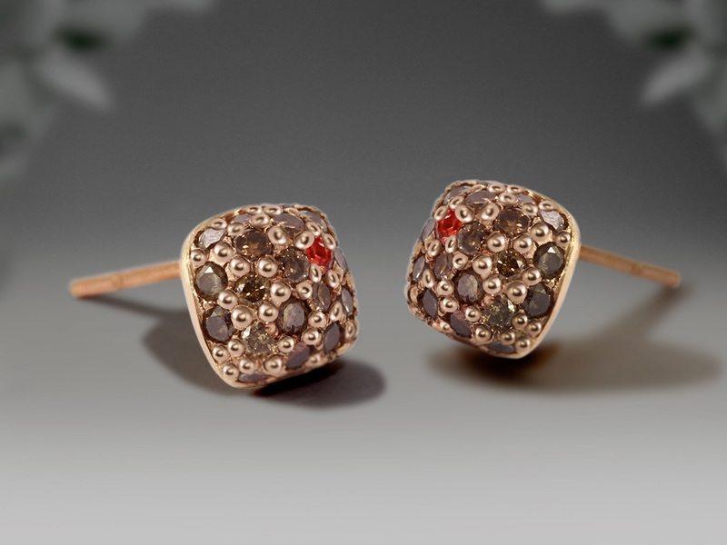 Diamond earrings by Scarab Jewellery Studio