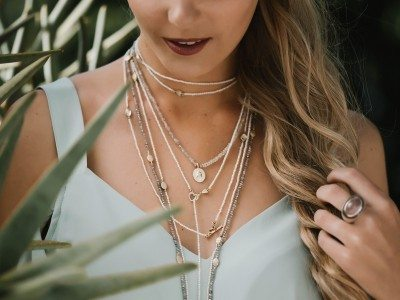 necklaces stacked - labradorite beads, pearls - beaded wraps with gold hearts and gold scarabs by Scarab Jewellery studio