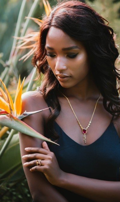 Rubelite and diamond necklace gold chain by scarab jewellery studio