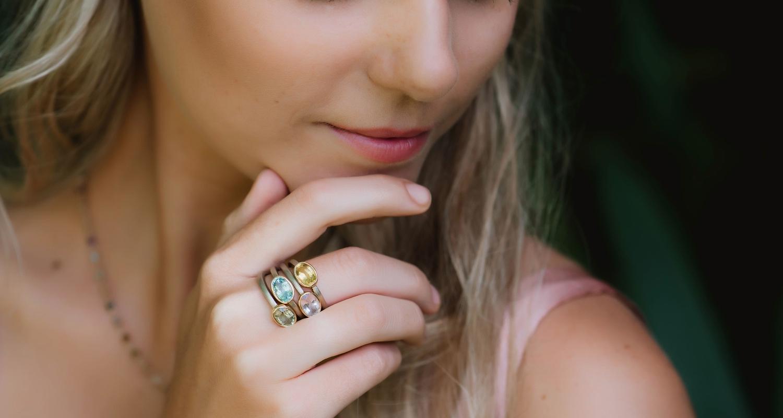 beryl gemstone rings stacked - engagement rings by Scarab Jewellery studio