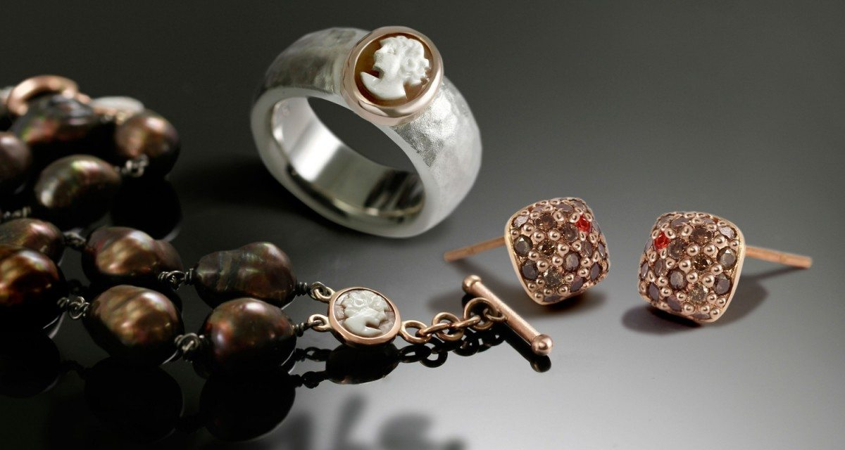 cameo jewellery and diamond earrings by Scarab Jewellery Studio