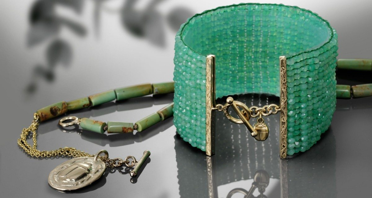 Chrysoprase beaded cuff and natural turquoise beaded necklace by Scarab Jewellery Studio
