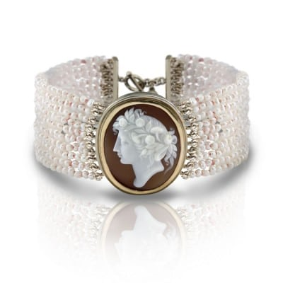 Seed Pearl Cameo Bracelet by Scarab Jewellery Studio