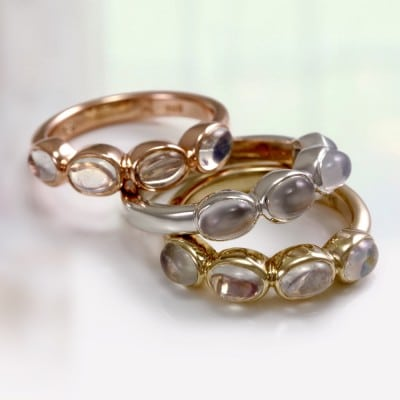 Fours Stone Moonstone Rings in Rose Gold, Yellow Gold and Silver - by Scarab Jewellery Studio