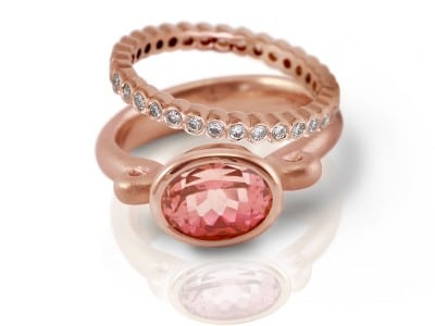 Morganite Gold Scroll Ring and diamond eternity band by Scarab Jewellery Studio