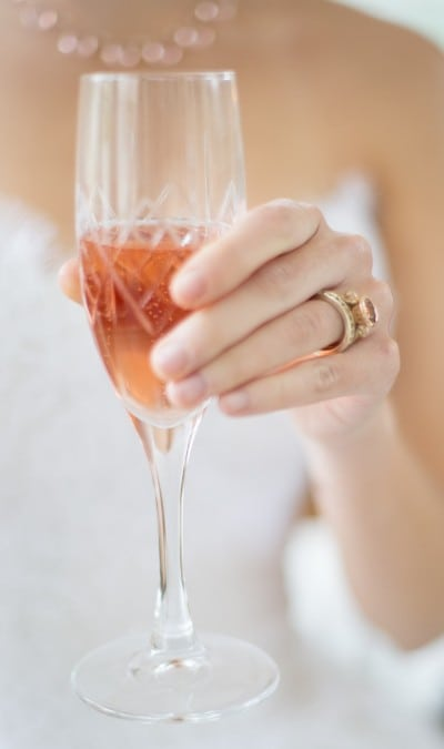 Bride with Morganite Scroll Ring and Diamond eternity band by Scarab Jewellery Studio