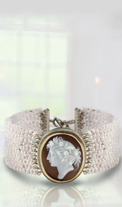 Seed Pearl Cameo Bracelet by Scarab Jewellery Studio
