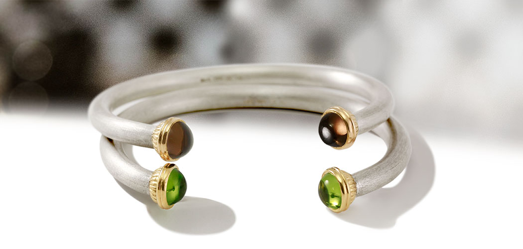 Silver gemstone Torque Bangles by Scarab Jewellery Studio