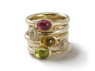 Secret Scarab Gold Gemstone Rings by Scarab Jewellery Studio