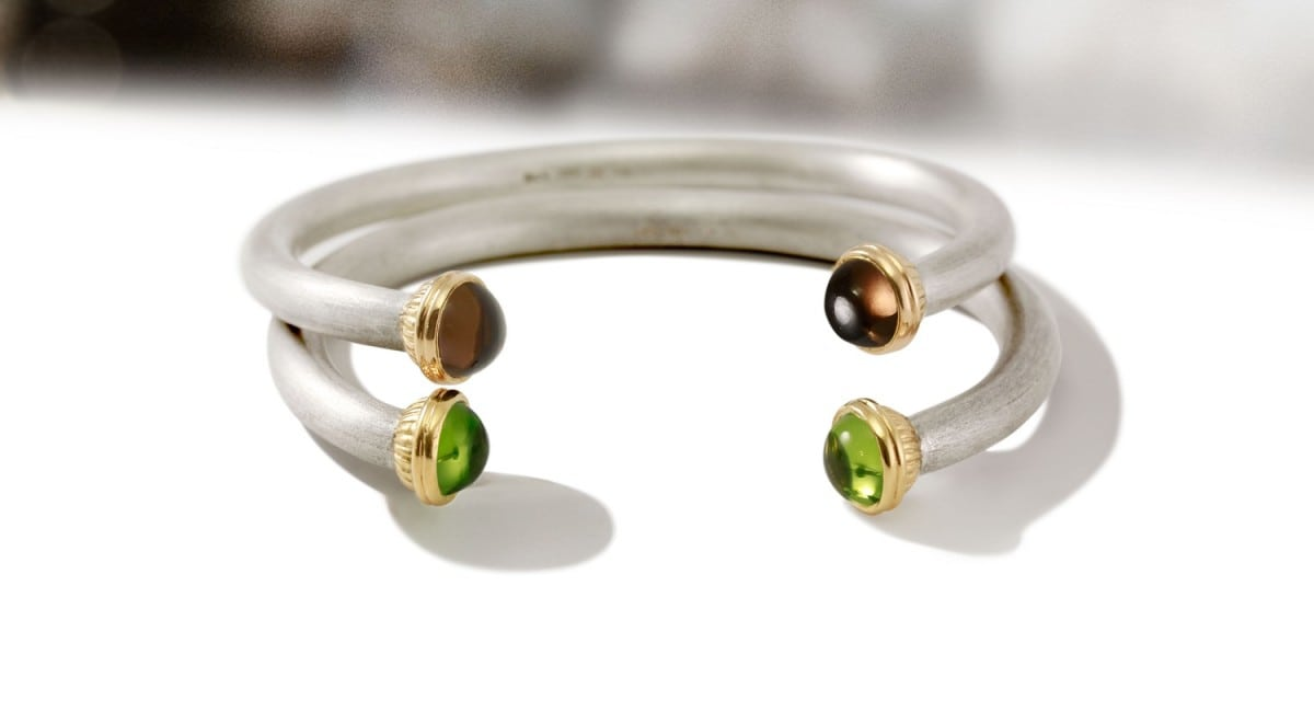 Gemstone Torque Bangles by Scarab Jewellery Studio