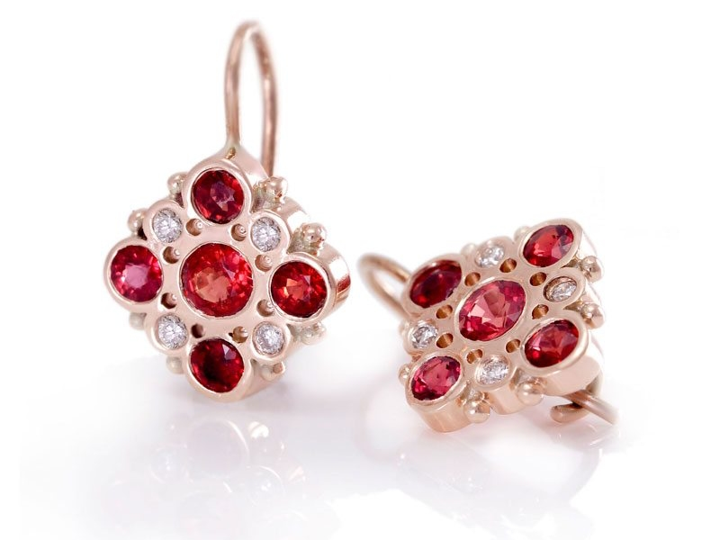 Victorian Red Sapphire and Diamond Earrings by Scarab Jewellery Studio
